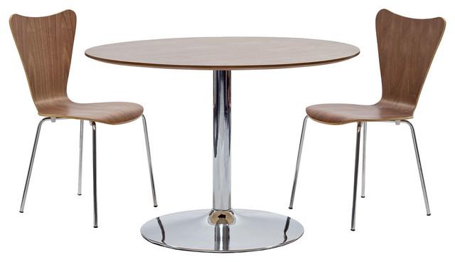 Rostrum 3 Piece Dining Set in Walnut modern-dining-tables