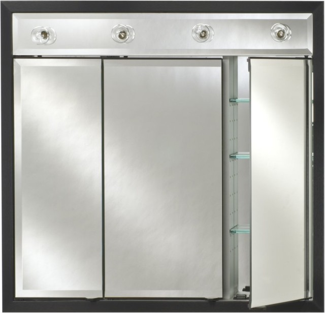 Afina Signature Contemporary Lighted Triple Door 44W x 34H in. Recessed Medicine - Modern ...