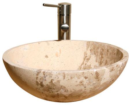 V-VR166 Sahara Limestone Honed Vessel Sink traditional-bathroom-sinks
