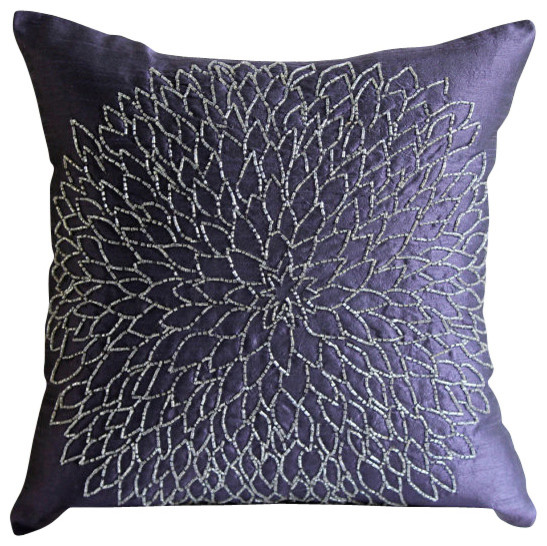 Silver Flower Purple Silk Throw Pillow Cover, 18x18 - Transitional - Decorative Pillows - by The ...