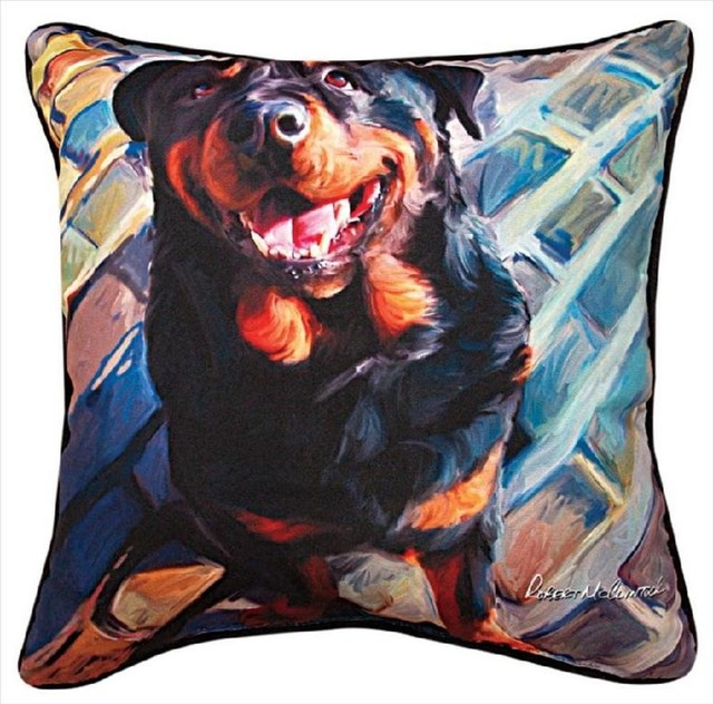Pair of 'Handsome Rottie' Rottweiler Dog Print Throw Pillows 18 Inch contemporary-decorative-pillows