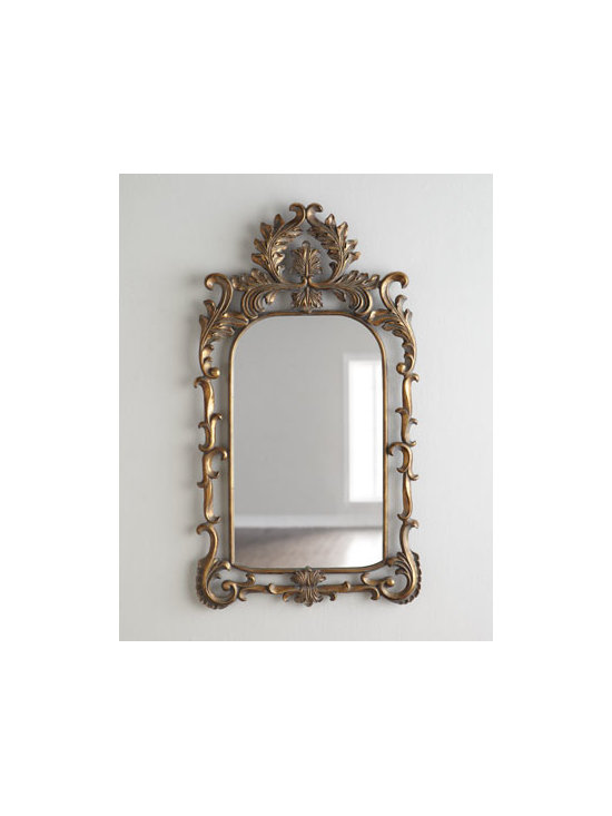 """Horchow - Acanthus Scroll Mirror - Spectacular scrolls and delicate acanthus-leaf motifs gracefully envelop the frame of this exquisite Grecian-style mirror. Made of metal, resin, and mirrored glass. Hand-painted silvery finish. D-ring hanger on back. 27""""W x 2""""D x 48""""T. Imported. B..."""