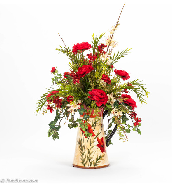 Red And Cream Silk Floral Arrangement In A Poppy Pitcher