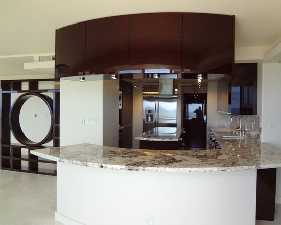 Fort Lauderdale - Contemporary kitchen cabinets with a suspended curved upper cabinets