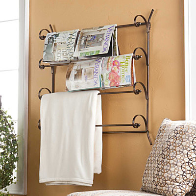 Wall mounted scrolled magazine rack contemporary for Houzz magazine