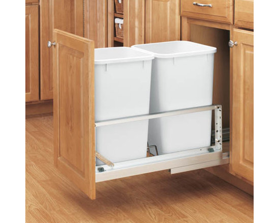 Cabinet Accessories - 27 qt dual trash kit for B15 with full extension soft close slides