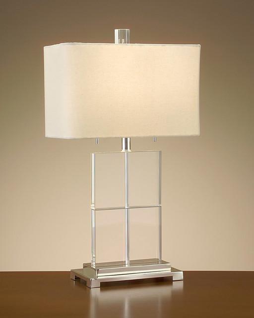 John Richard 28'' Crystal Cubed Table Lamp contemporary-lamp-shades