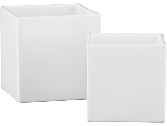 Square White Vases modern-vases