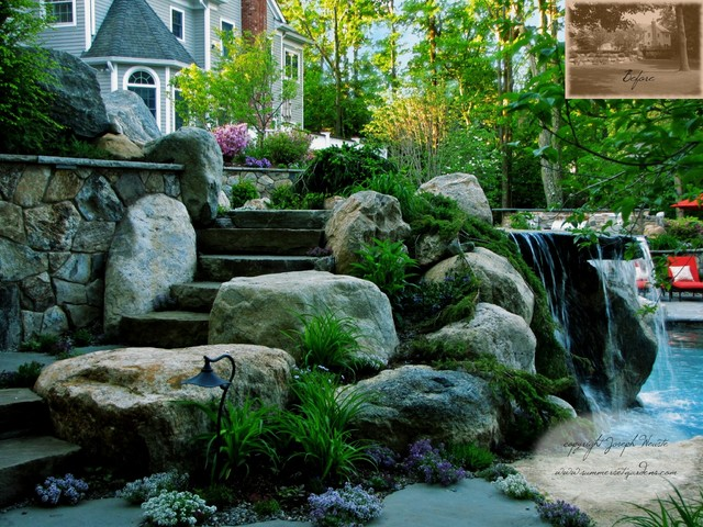 Pool Waterfalls & Stone Steppers traditional-pool