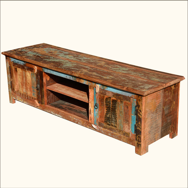 "60"" Rustic Reclaimed Wood Entertainment TV Media Console - Rustic - Entertainment Centers And Tv ..."