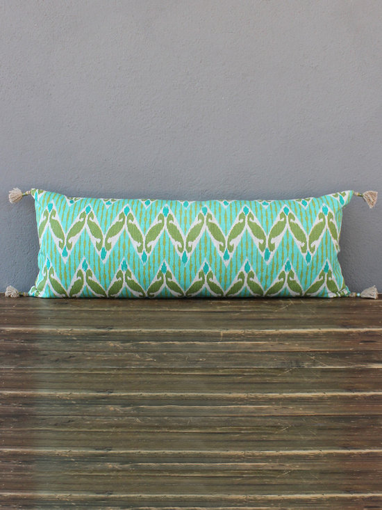 aqua zig zag lumbar pillow - view this item on our website for more information + purchasing availability: http://redinfred.com/shop/category/free-shipping/aqua-zig-zag-lumbar-pillow/