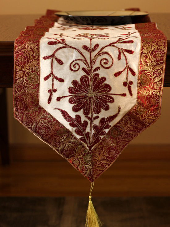 Elegant Table Runners - Dazzling Indian design. Cherry Vanilla color. Hand embroidered. Great decor for any table top. Red Beige Gold