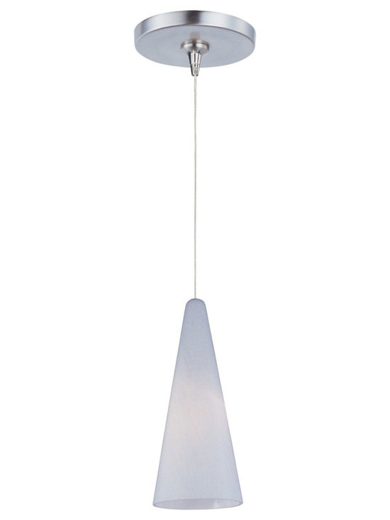 """ET2 - ET2 Minx Lava RapidJack White Glass Mini Pendant - Contemporary cone shade mini pendant. White lava glass shade. Satin nickel finish metal round canopy and details. Includes one 50 watt 12 volt GY6.35 T4 Xenon bulb. Light output is 750 lumens. 2900K color temperature warm light. 2000 hour rated average bulb life. Low-voltage design; transformer included. Includes 72"""" wire. Shade is 4 1/2"""" wide and 10"""" high. Canopy is 4 1/2"""" wide and 1"""" high. Maximum overall hang height is 83"""".   Contemporary cone shade mini pendant.  White lava glass shade.  Satin nickel finish metal round canopy and details.  Includes one 50 watt 12 volt GY6.35 T4 Xenon bulb.  Light output is 750 lumens.  2900K color temperature warm light.  2000 hour rated average bulb life.  Low-voltage design; transformer included.  Includes 72"""" wire.  Shade is 4 1/2"""" wide and 10"""" high.  Canopy is 4 1/2"""" wide and 1"""" high.  Maximum overall hang height is 83""""."""