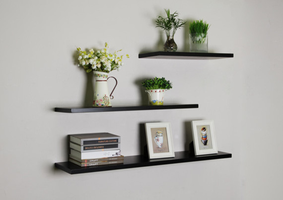 Black Floating Wall Shelves 3pcsset Modern Display