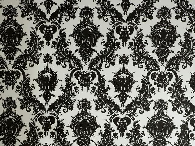 Damsel, Black & White contemporary-wallpaper