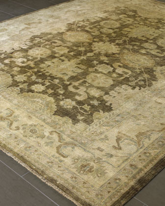 Mocha Oushak Rug, 10 x 14 traditional rugs