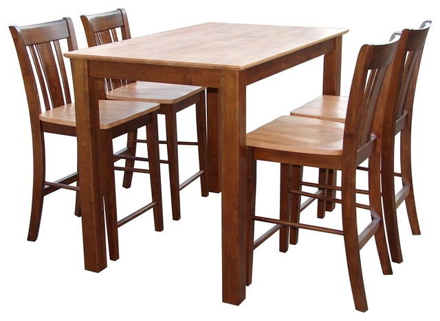 Arts and Crafts - Mission Oak & Natural Gathering Table with Slatback Counte traditional-dining-tables