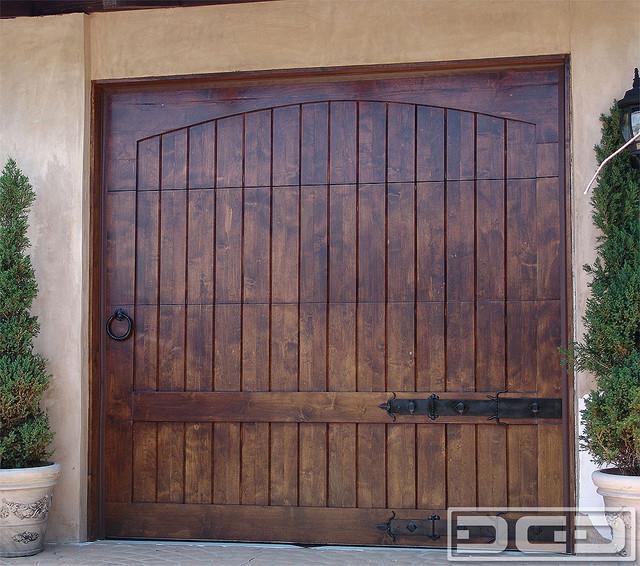California dream 07 a rustic alder wood garage door in a for 18x7 garage door prices