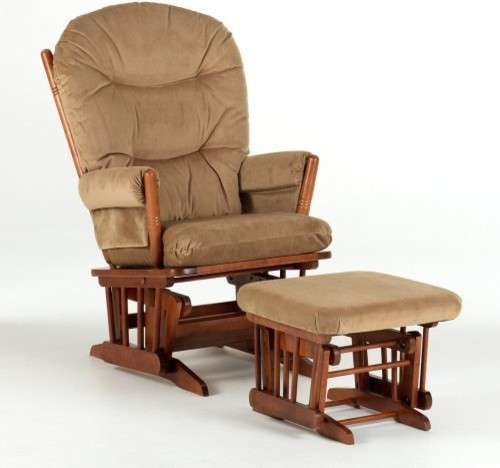 Dutailier 2-Post Glider - Harvest Brown & Velvet Taupe traditional-rocking-chairs