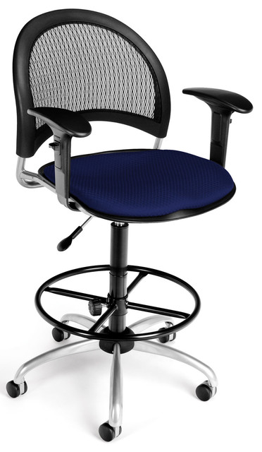 OFM Navy Moon Collection Swivel Drafting Stool with Arms modern-task-chairs
