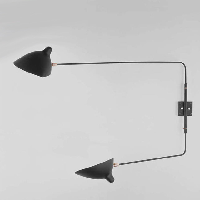 Contemporary Wall Lamps Swing Arms : Serge Mouille 2 Straight Arms Rotating Sconce - Modern - Swing Arm Wall Lamps - by Switch Modern