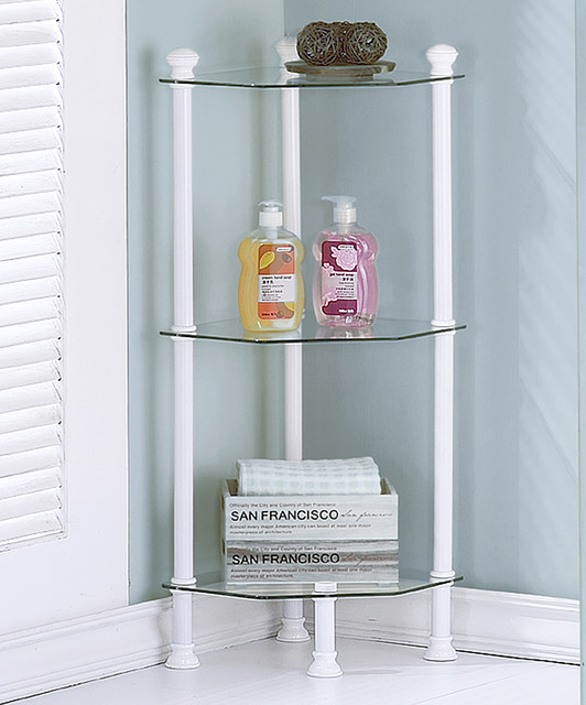 White Metal & Glass Corner Etagere - Contemporary ...