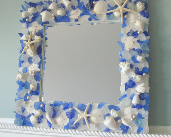 Seashell Mirrors for Beach Decor - Nautical Shell Mirrors w Sea Glass, Starfish - Seashell mirrors for beach decor. My beautiful nautical decor sea glass and shell mirrors are made with gorgeous sea glass, white starfish, white shells, sand dollars, and pearls. Beach decor or nautical decor lovers will love this blue sea glass mirror!