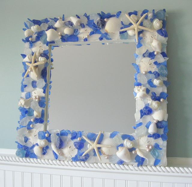Seashell Mirrors For Beach Decor Nautical Shell Mirrors W Sea Glass Starfish Contemporary