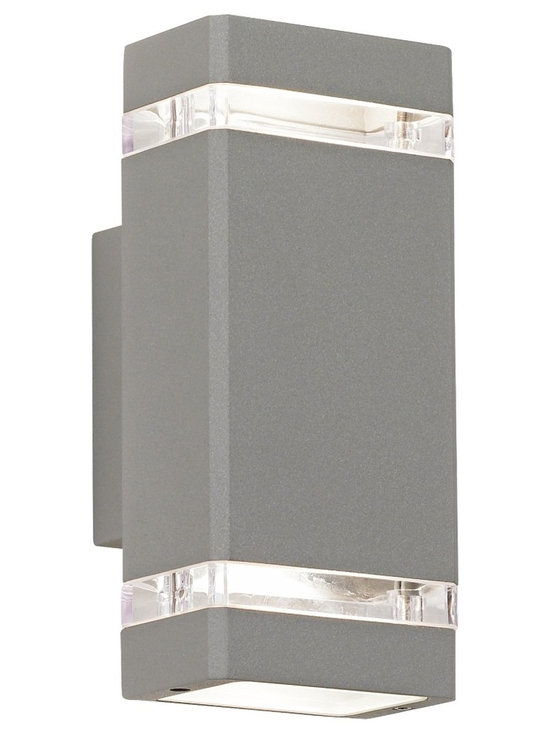"""Possini Euro Design - Possini Euro Rectangular Silver Up/Down Outdoor Wall Light - Industrial styling and matte silver finish give this outdoor wall light from Possini Euro Design a contemporary feel. The rectangular design includes clear glass inserts that allow accents of light out the sides and bulbs in the top and bottom direct light up and down. Die-cast aluminum. Matte silver finish. Takes two 35 watt GU10 halogen bulbs. 10 1/2"""" high. 4 1/2"""" wide. Extends 4 1/4"""" from the wall.  Die-cast aluminum.    Matte silver finish.   Includes two 35 watt GU10 halogen bulbs.  10 1/2"""" high.   4 1/2"""" wide.   Extends 4 1/4"""" from the wall."""
