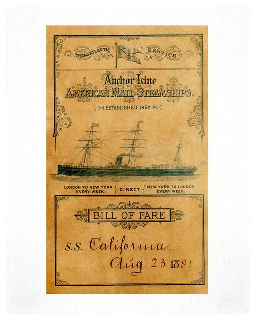 "SS California 1881 Vintage Menu Art Print, 11x14"" industrial-prints-and-posters"