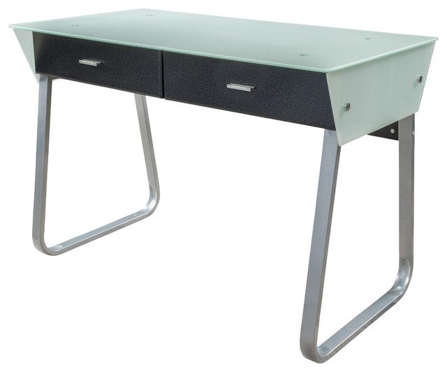 Zaya Double Drawer Glass Computer Desk, White - Modern - Desks And Hutches - by Great Deal Furniture