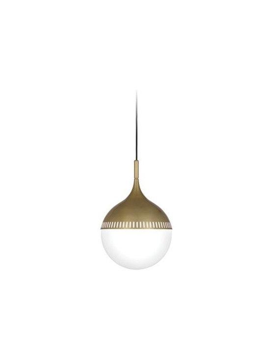 Rio Brass with White Shade Robert Abbey Pendant Light -