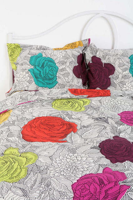 Coloring Book Floral Sham - Set of 2 contemporary-pillowcases-and-shams