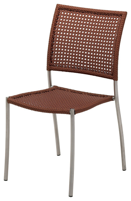 Chorus Woven Stacking Side Chair Copper Modern Outdoor Lounge Chairs B