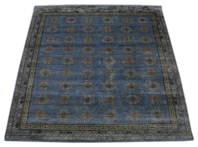 Fine Khotan Vegetable Dyes Hand Knotted Rug Pure Silk Sh10661 transitional-area-rugs