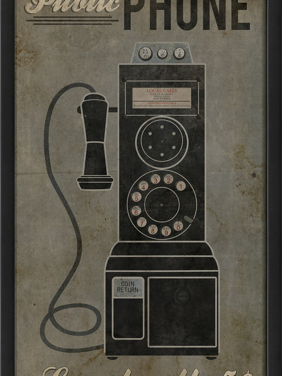 The Artwork Factory - 'Public Phone' Print - The pay phone may be a vintage relic, but that doesn't mean you can't enjoy this iconic imagery. Hang it in your living room to remind yourself and the kids of a simpler time in history. This richly printed piece arrives framed and ready to display.