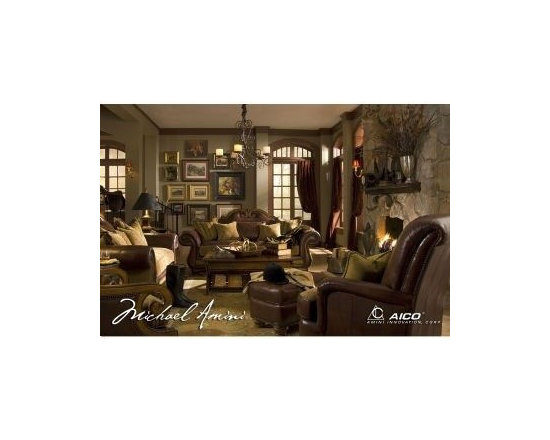 AICO Furniture - Tuscano 3 Piece Living Room Set with Leather & Fabric - 349-26S - This Set includes 1 Sofa, 1 Love seat & 1 Chair