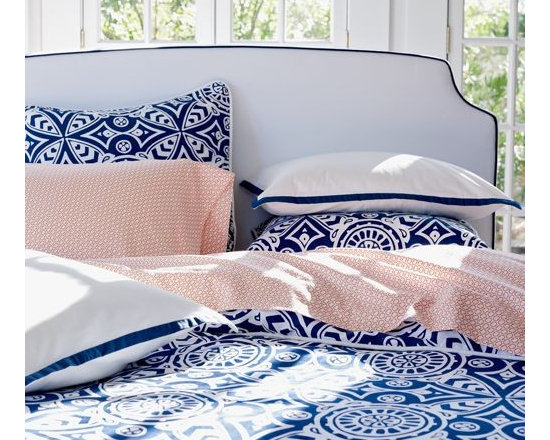 Serena & Lily - Catalina Duvet - Catalina's fabulous medallion scarf print is an original design by Serena, first featured in her early block-printed pillow collection. Crisp sateen with white sateen piping and European fabric-covered button closures.