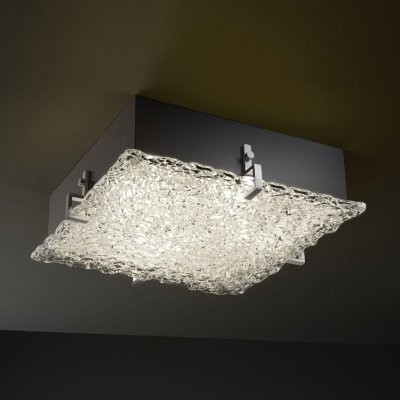 Justice Design Group Veneto Luce GLA-5555-LACE-NCKL Clips 12 in. Square Flush-mo modern-bathroom-lighting-and-vanity-lighting