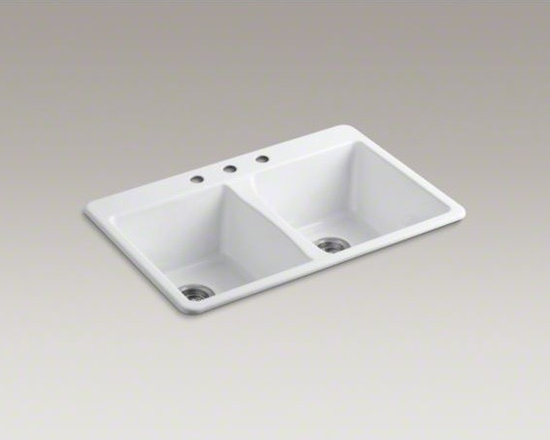 """KOHLER - KOHLER Deerfield(R) 33"""" x 22"""" x 9-5/8"""" top-mount double-equal bowl kitchen sink - With its classic, versatile style, Deerfield instantly updates any kitchen. Redesigned with deeper bowls and tighter corners, this double-equal sink features approximately 20 percent more basin volume than previous models, giving you plenty of room for cl"""