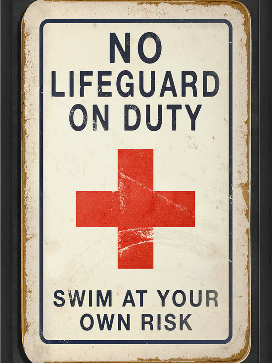 """The Artwork Factory - """"No Lifeguard on Duty"""" Print - Here's the perfect tongue-in-cheek poster sure to inspire chuckles from guests anywhere you hang it. It's museum quality and ready to hang, created from high-resolution, acid-free, fade-resistant paper and 12-color pigment ink, with a wood frame, glass and metal sawtooth hangers."""