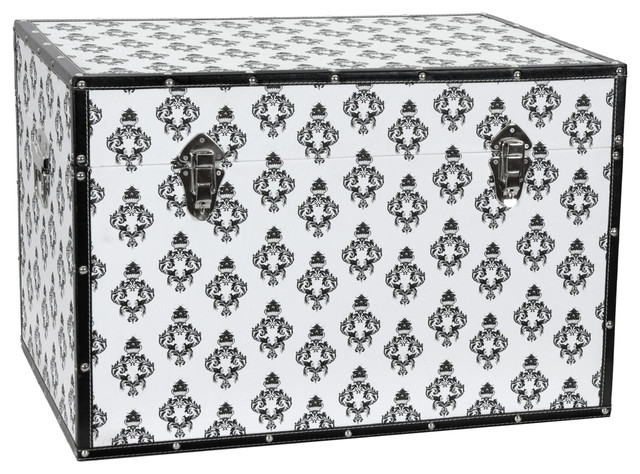 Damask Storage Trunk - White modern-accent-chests-and-cabinets