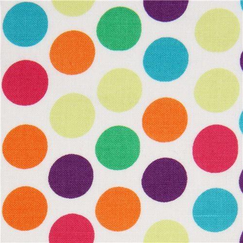 white polka dot fabric teal orange by Michael Miller fabric