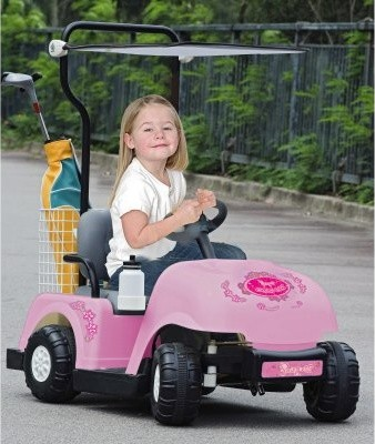 Battery Powered Pink Golf Cart with Golf Bag & Clubs - Modern - Kids ...
