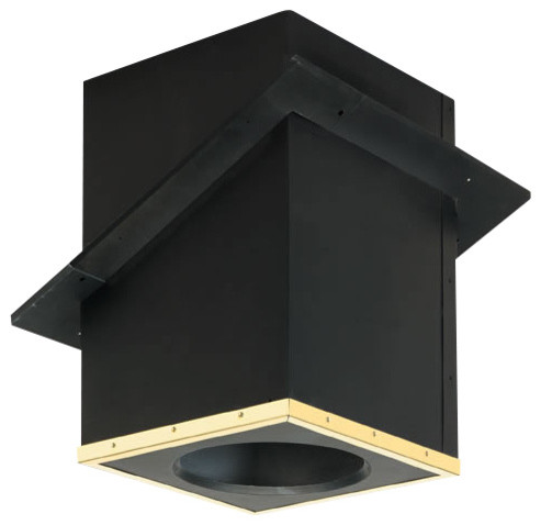 """7"""" Supervent Cathedral Ceiling Support Box with Black Ceiling Trim, Galvalume - Modern ..."""