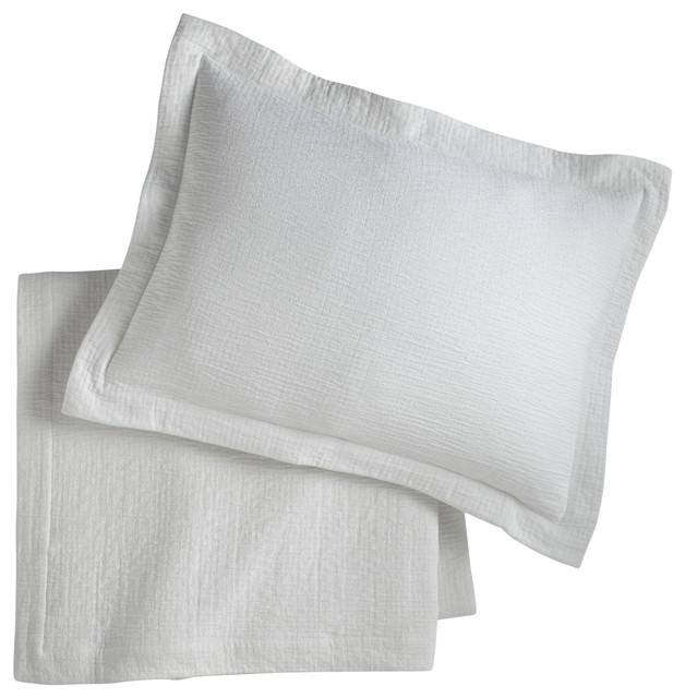 Bradley Sham, White, Boudoir contemporary-pillowcases-and-shams