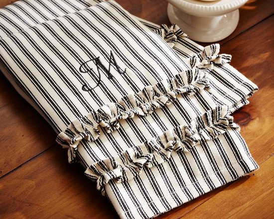 Ticking Stripe Ruffled Guest Towels, Set of 2 -