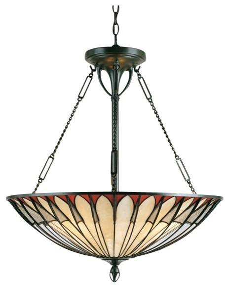 Alhambre tiffany style pendant chandelier modern for Modern craftsman lighting