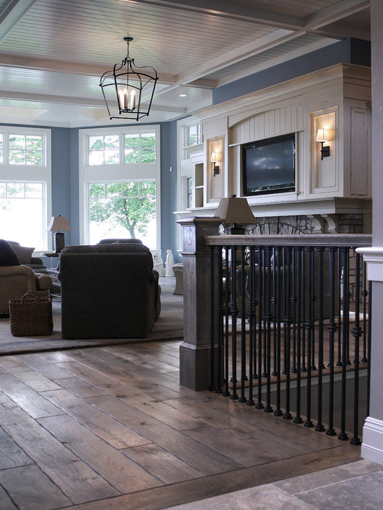 "Private Residences - Victorian™ Collection 6-3/4"" (17 cm) Vintage French Oak hardwood floor, hand scraped, hand carved beveled Tuscany™ Style, hand distressed, acid-cured, dyed and stained in custom Gray color, triple Hardwaxed."