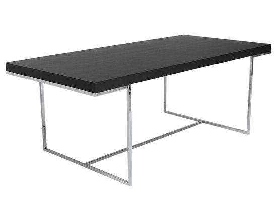SohoConcept - Madrid Dining Table by sohoConcept - Madrid is a rectangular dining table with minimalist design details. Its oak veneer MDF table top rests on sleek chrome finished solid metal legs. This table can also be used as a desk for a spacious home office.